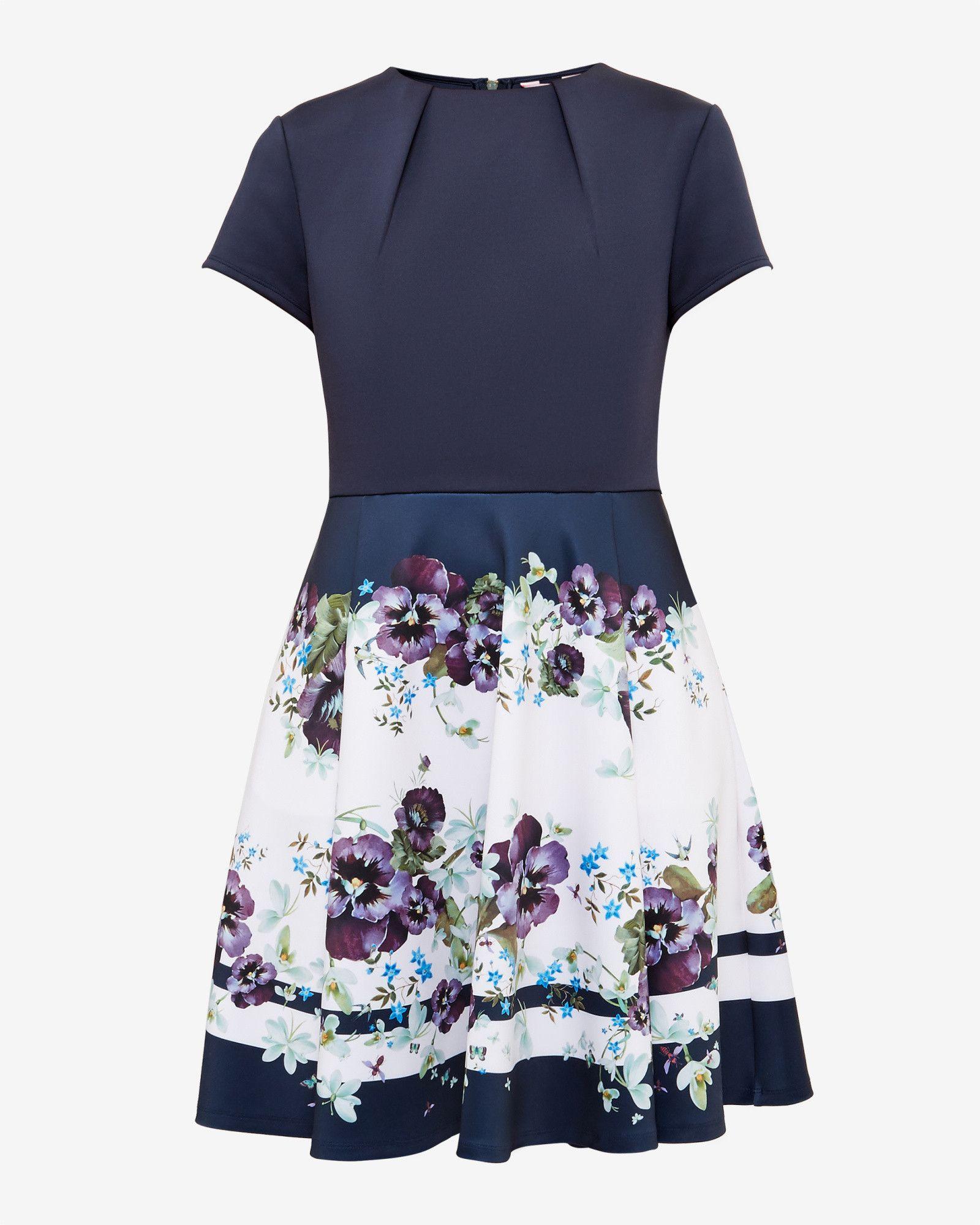 Entangled Enchantment Skater Dress Dark Blue Dresses Other