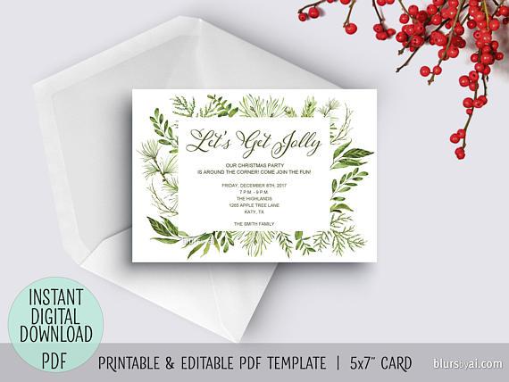 Printable holiday party invitation pdf TEMPLATE, Christmas