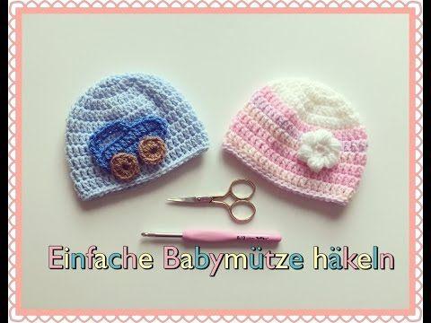 SEHR EINFACH!! Baby Mütze Häkeln. Für Anfänger - YouTube | Blumen ...