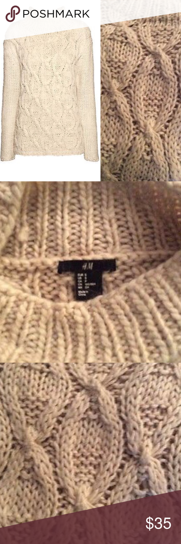 H&M Cable Knit Oversized Mock Turtleneck Sweater | Cable knitting ...