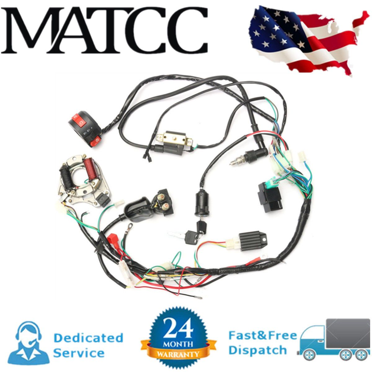 ☑️ CDI Wire Wiring Harness Assembly Kit ATV Electric Start