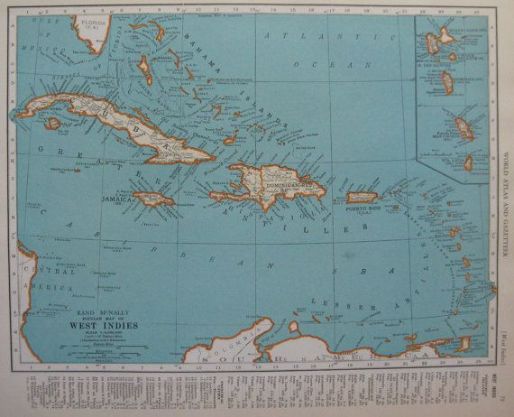 Caribbean map 1938 vintage map west indies islands beautiful color caribbean map 1938 vintage map west indies islands beautiful color original 1930s map 2184 gumiabroncs Choice Image