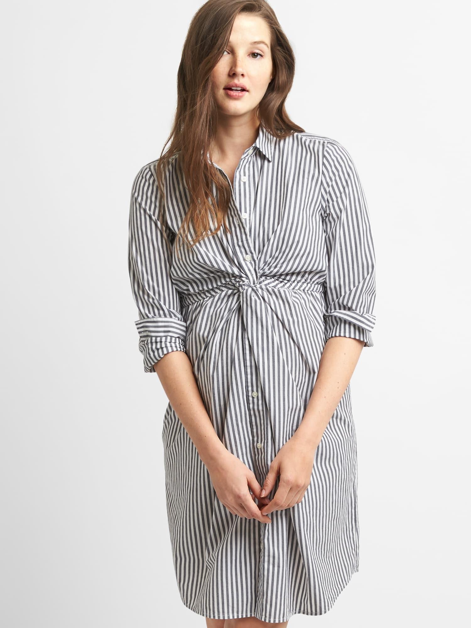 Gap womens maternity stripe shirtdress with twistknot