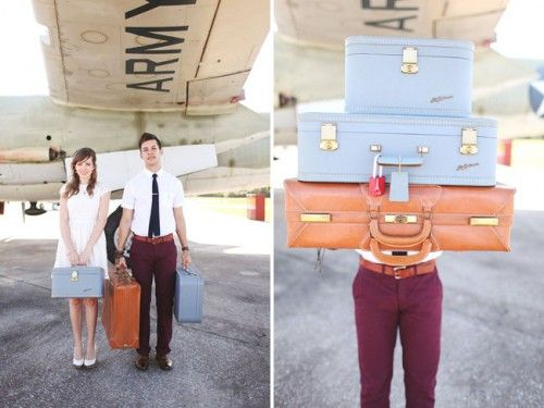 Vintage Inspired Engagement Session At An Airplane Hangar