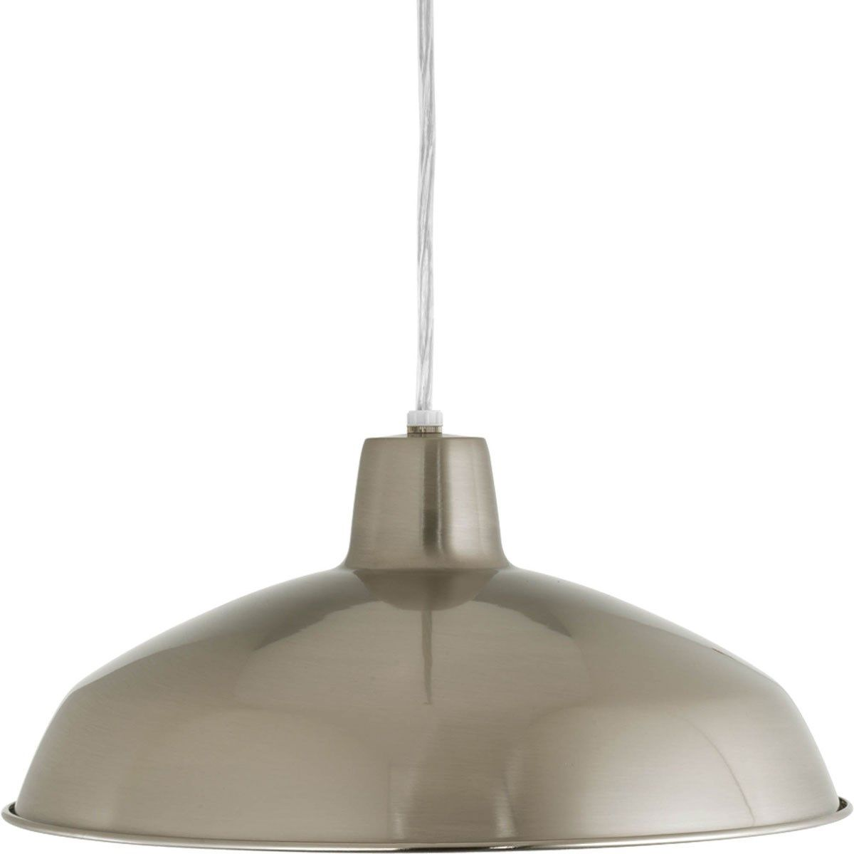 Progress Lighting P5094-09 1 Light Cord-Hung Pendant with White Interlined Shade