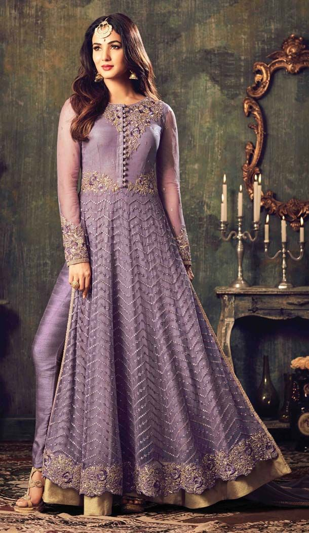 9266db3316e Sonal chauhan Lavender Color Net Straight Cut Style Designer Salwar Kameez  the lovely lace embroidery work a substantial attribute of this  attire.comes with ...