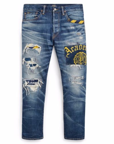 Polo-Ralph-Lauren-Men-Indigo-Dyed-Repaired-Patchwork-Distress-Artist-Slim- Jeans 86876bc1aa5
