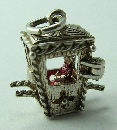 Silver Opening Nuvo Sedan Chair Charm Person Inside