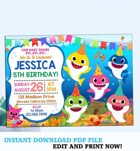 Instantly Download Edit And Print This Baby Shark Invitation Our Diy E Shark Birthday Invitations Shark Themed Birthday Party Shark Birthday Party Invitation