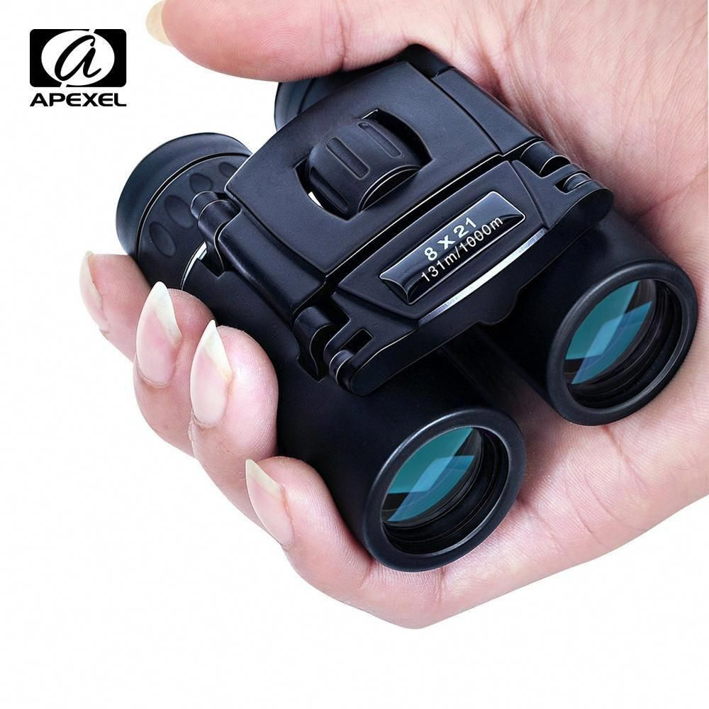 COLLAPSIBLE BINOCULAR 8x21 HIKING CAMPING OUTDOOR TRAVEL with CARRY POUCH BLACK