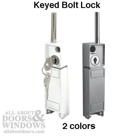 sliding patio door bolt lock keyed white or aluminum