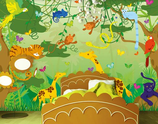 New Fototapete COMIC JUNGLE x Tapete Kinder Kinderzimmer Tiere Dschungel Affen
