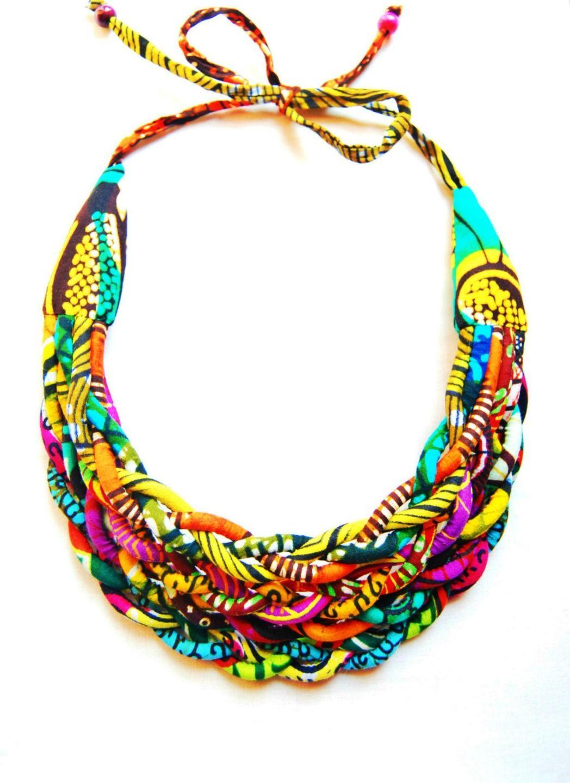 Création Bijoux Fantaisie Tissu : Collier massa? wax tress? quot thialaba tissu africain