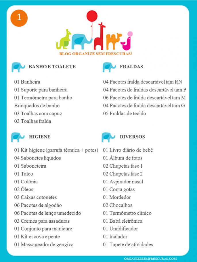 Muito Lista completa de Chá de Bebê para imprimir | Babies and Planners IB39