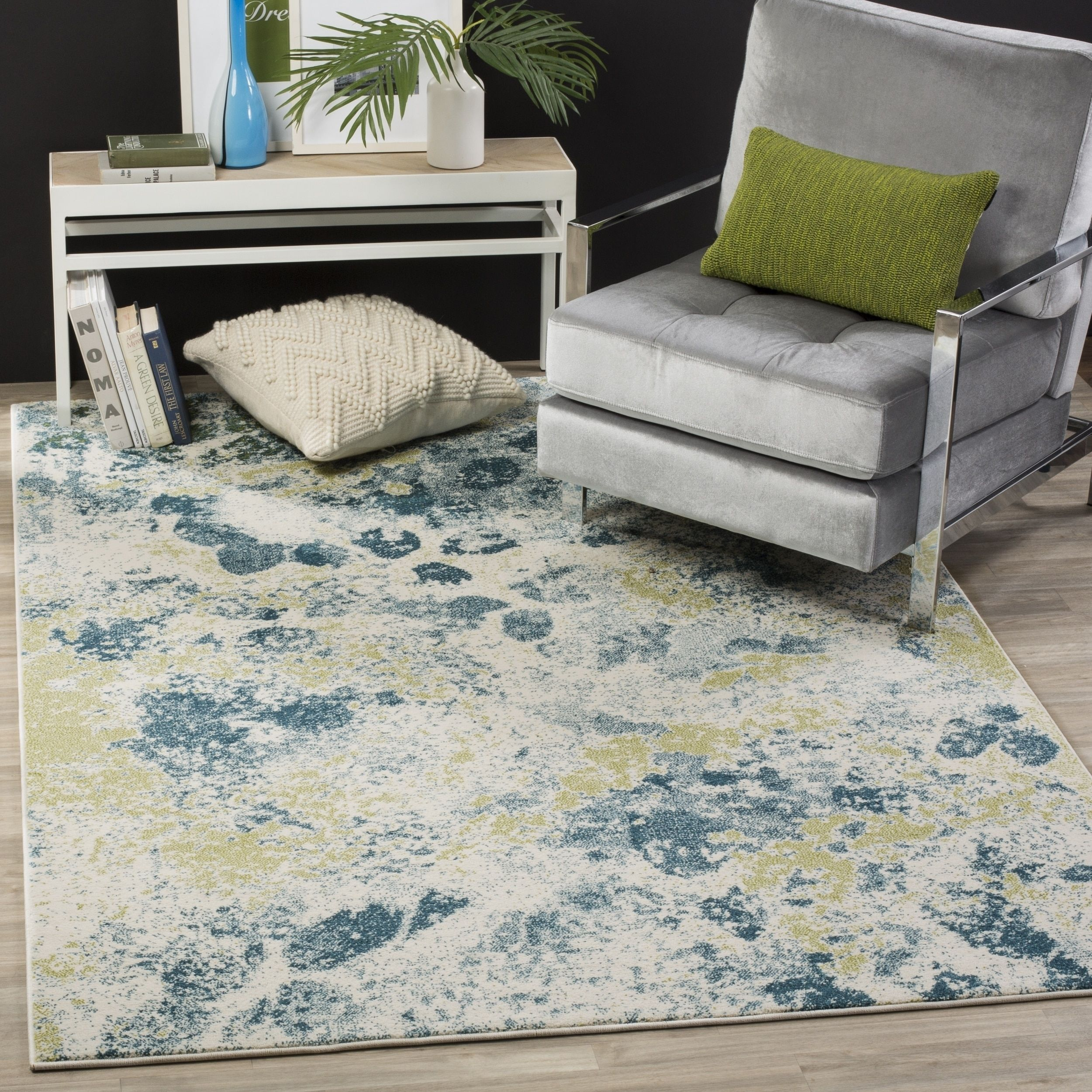 Safavieh Watercolor Contemporary Ivory/ Light Blue Rug (5' 3 x 7' 6 ) , Size 5' x 8' (Polypropylene, Abstract)