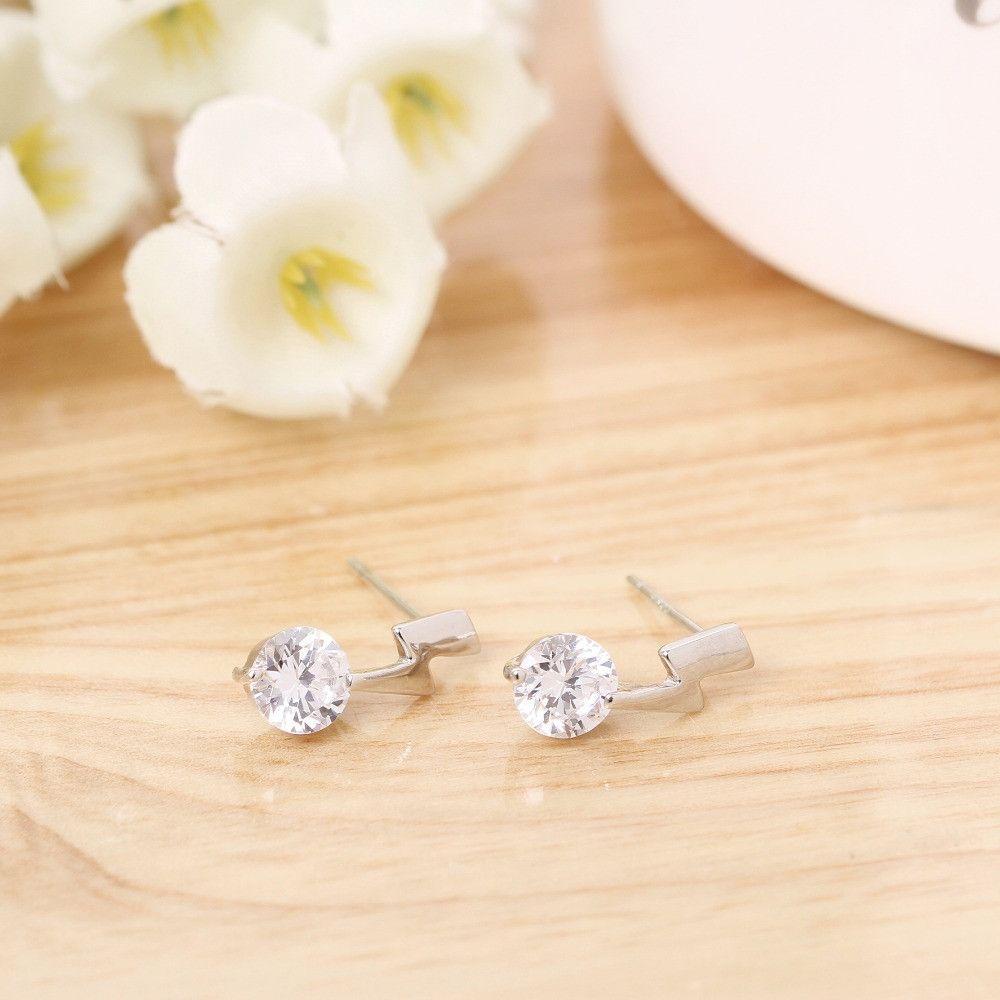 adtl hearts arrows cut lightning shape stud earrings 925 sterling silver earrings engagement fine brincos