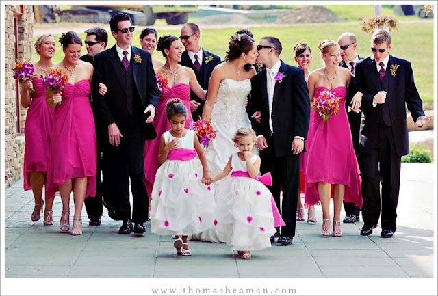 Hot Pink Bridesmaids Dresses And Black Tuxes Wedding From