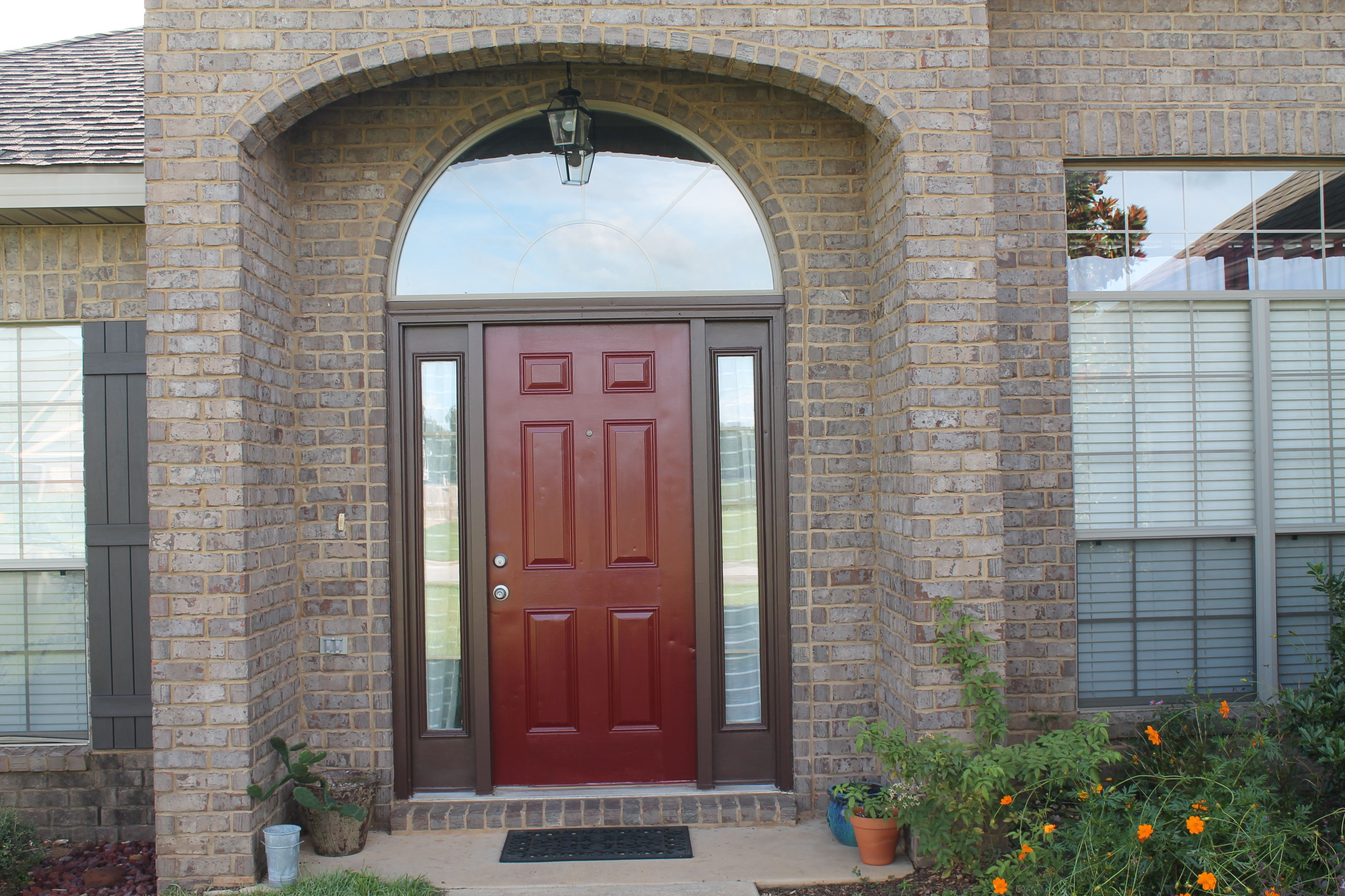 Painted Our Front Door Bm Classic Burgundy And Sidelights Valspar