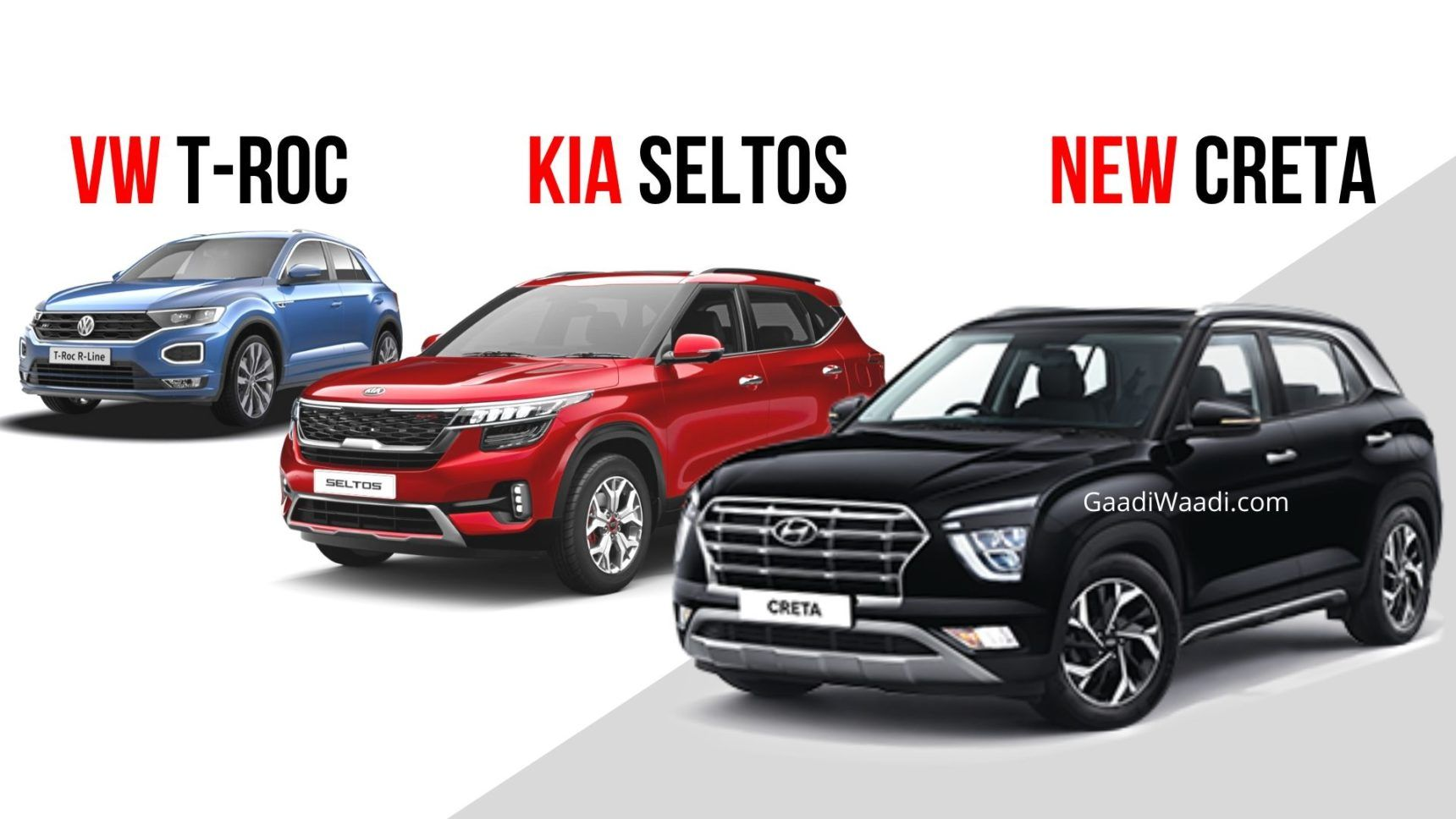 Vw T Roc Vs Kia Seltos 1 4 Vs Hyundai Creta 1 4 Turbo Spec Comparison In 2020 Kia Hyundai Turbo