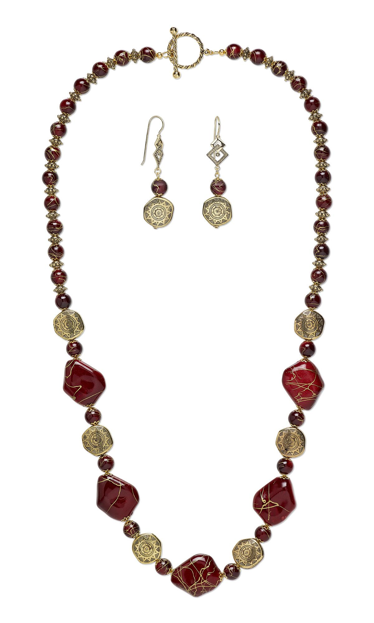 jewelry design single strand necklace and earring set with acrylic