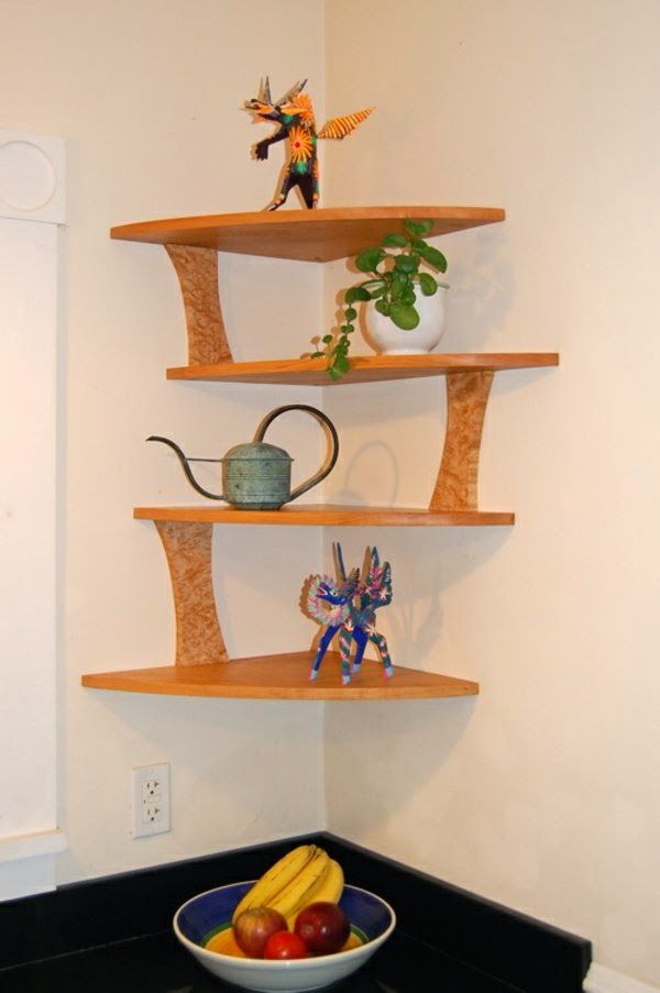 20 cool corner shelf designs for your home wooden for Kitchen shelves design