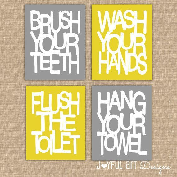 Kids Bathroom Wall Art. Bathroom Rules. Brush Wash Flush Hang Prints.  Typographyu2026