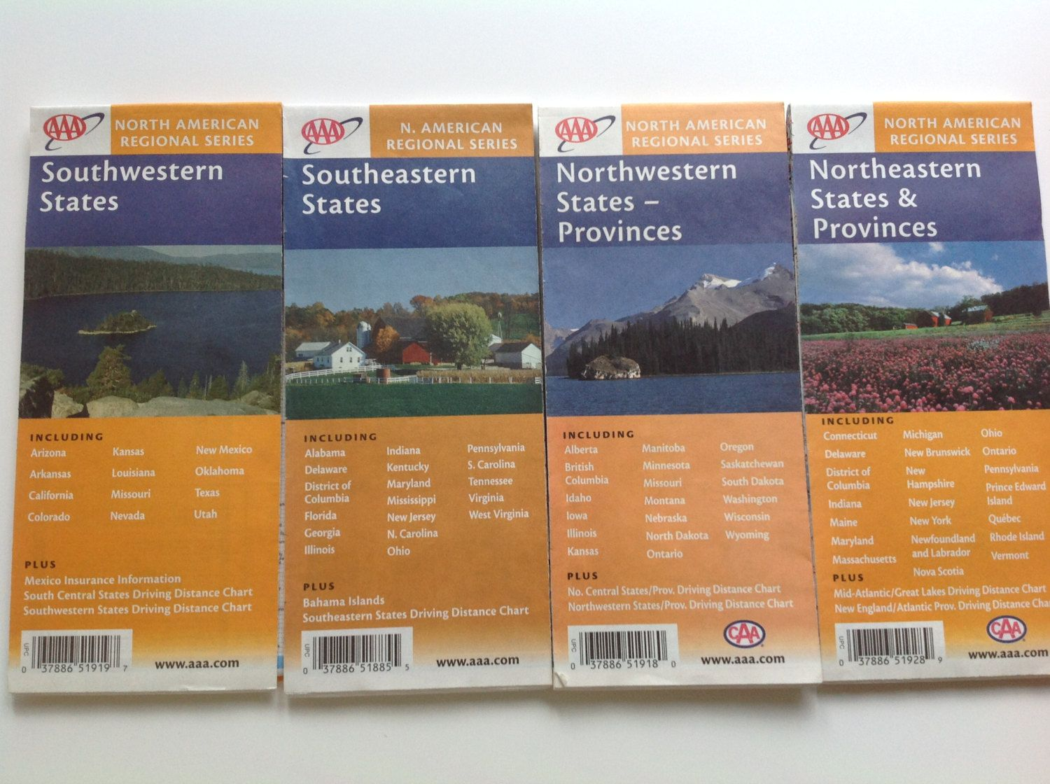 Vintage Collection Aaa North American Regional Map Series Northeasternstates Southwestern States Northwestern States