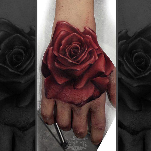 Rose Fist Color Realistic Tattoo Roza Saketattoocrew Rose Hand Tattoo Black Rose Tattoos Hand Tattoos