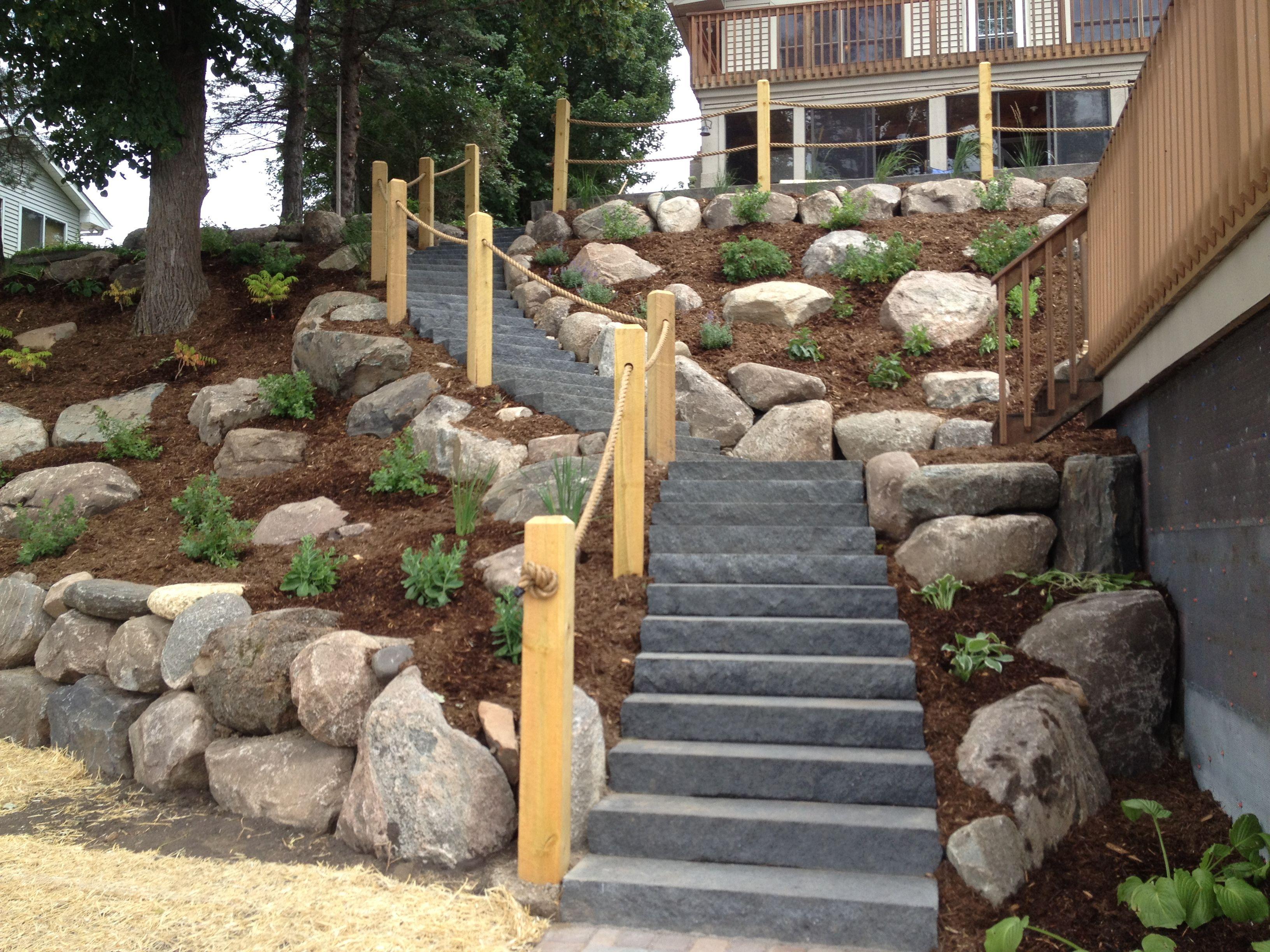 landscape steep backyard hill