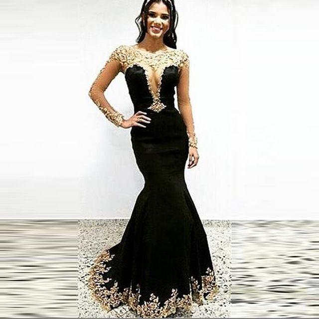 fc5fa619e42b Arabic Gold and Black Mermaid Beaded Lace Long Sleeve Velvet Evening  Dresses 2016 Long Party Prom Gowns vestidos de festas VE107