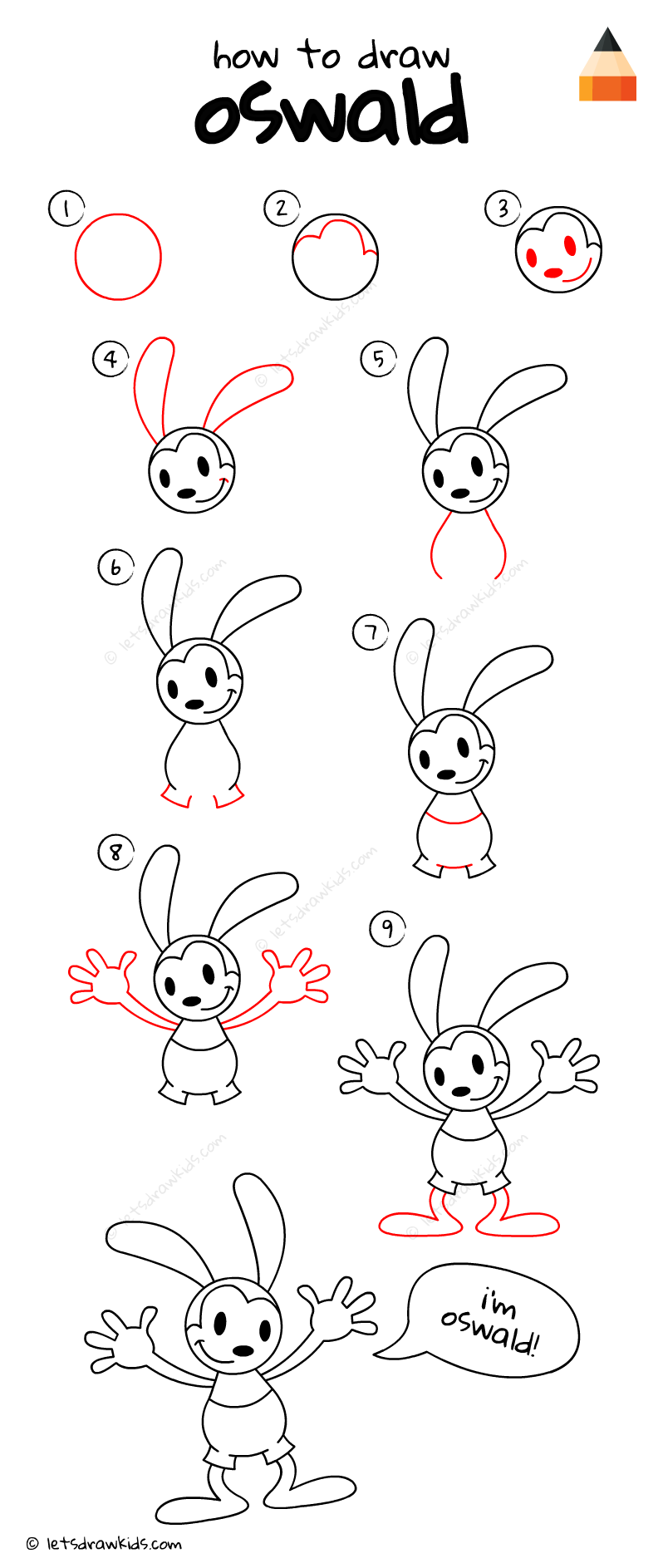 How To Draw Oswald Oswald The Lucky Rabbit Rabbit Drawing Drawings