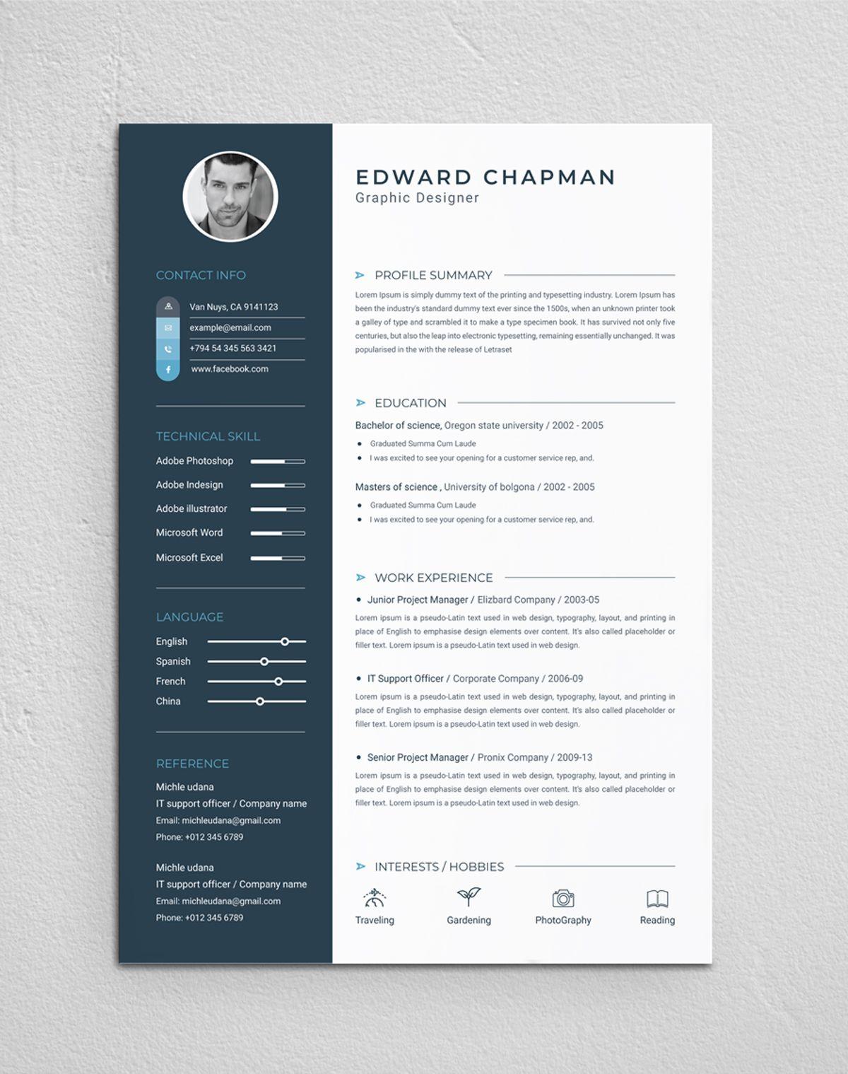 Cv Template Resume Design Template Resume Template Cv Template