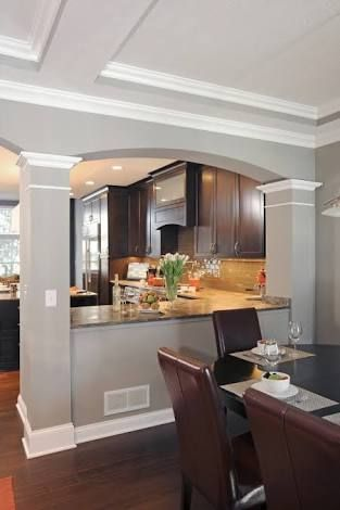 Kitchen With Half Wall To Dining Room Google Search Kitchen Remodel Design Home Kitchens Living Room Kitchen
