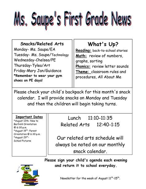 Weekly Newsletter Templates For Teachers title 1 boards - weekly newsletter template
