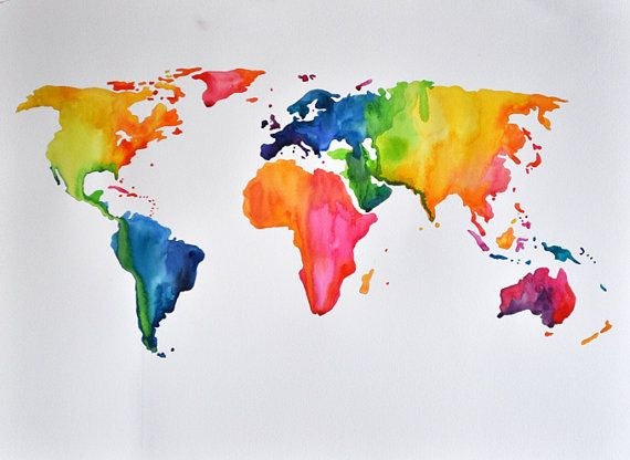 Original abstract world map watercolor painting rainbow colors original abstract world map watercolor painting rainbow colors colorful map painting 22x30 inch gumiabroncs Gallery