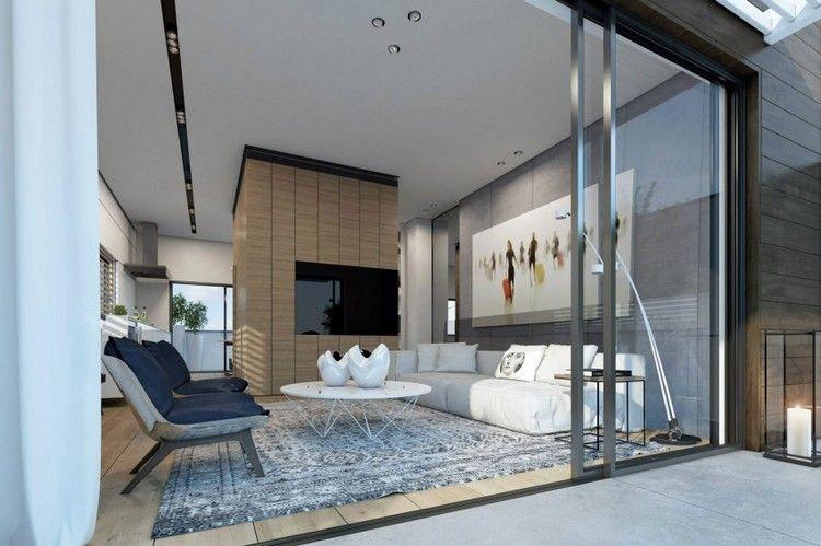 Innendesign Wohnzimmer ~ Design wohnzimmer weisses sofa runder couchtisch grauer teppich