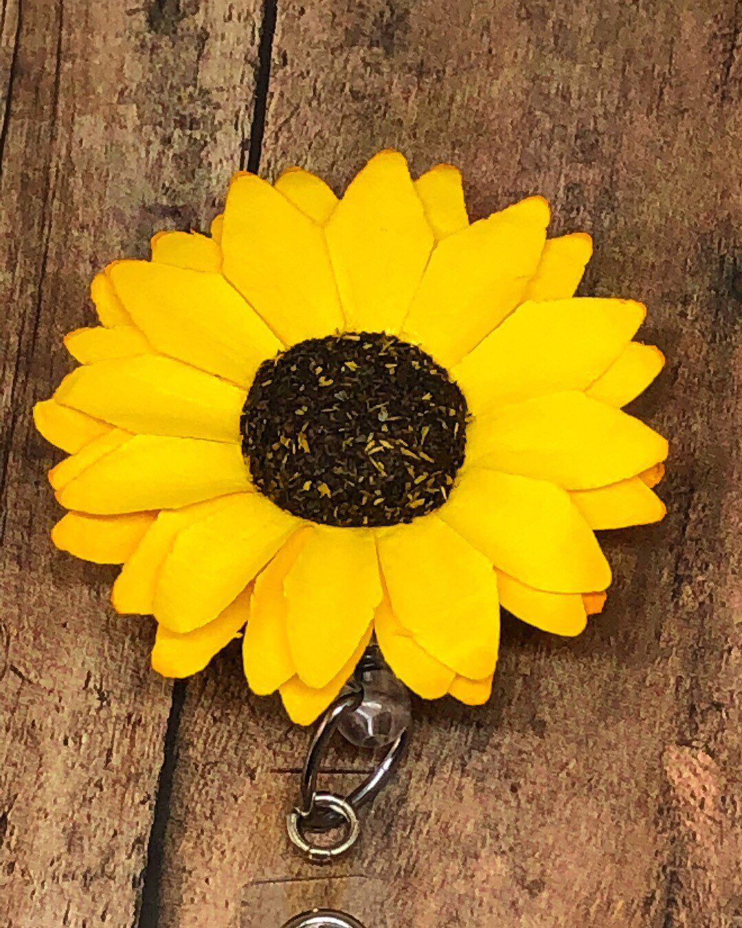 Paper Yellow Sunflower Id Badge Reel Retractable Badge Holder