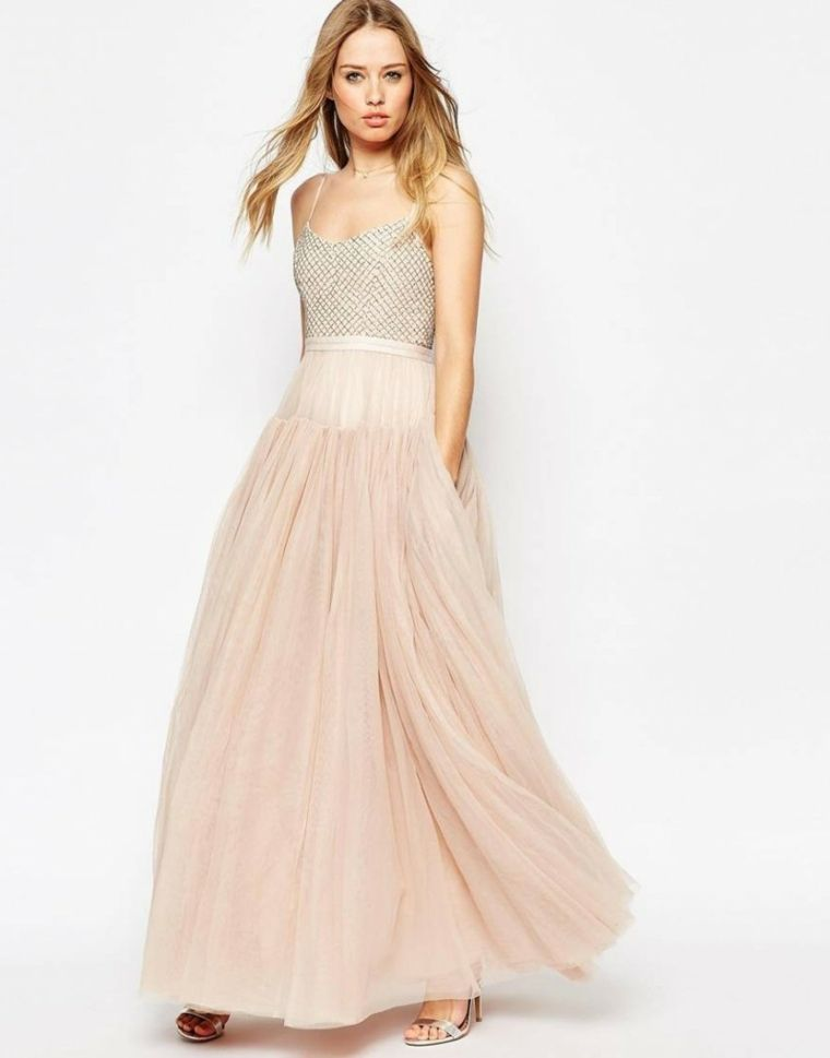 Vestito lungo di colore rosa con parte bassa in tulle 0b54de775ed