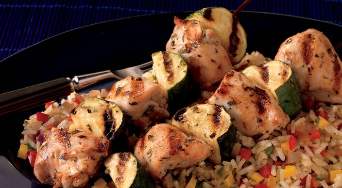 Lemon Oregano Chicken Kabobs Over Confetti Rice Poultry Recipes Recipe Poultry Recipes Grilled Chicken Recipes Chicken Kabob Recipes