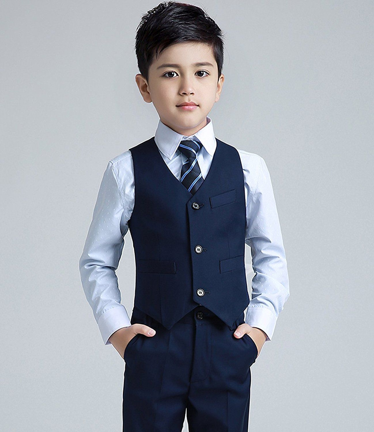 1e9f13228 Yuanlu Boys Formal Suits 5 Piece Slim Fit Dresswear Suit Set 2 Years Navy  Blue: Amazon.co.uk: Clothing