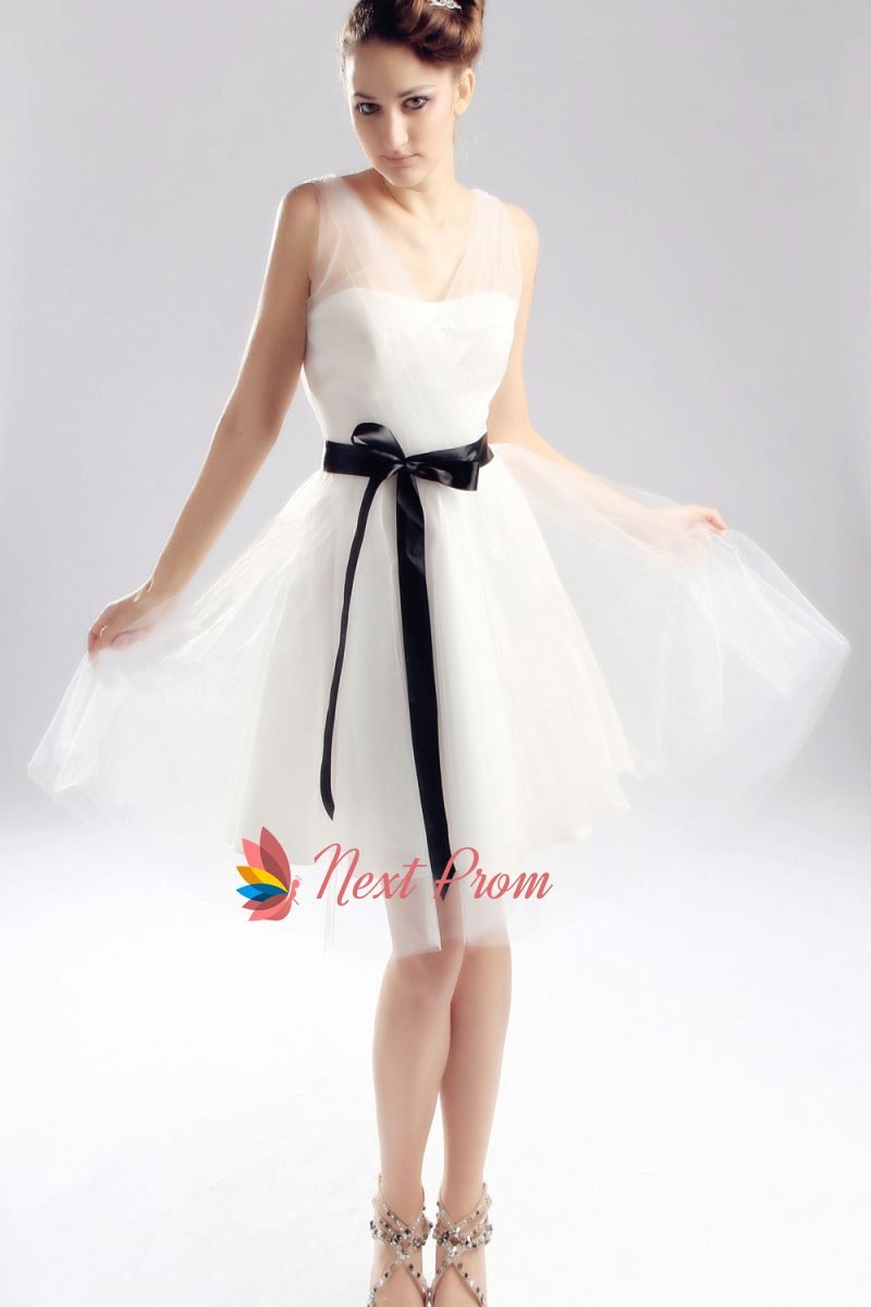 Ivory Wedding Dress With Black Sash Short Ivory Graduation Dress
