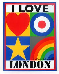 "A limited edition Peter Blake lithographic print on recycled tinplate, which reads ""I LOVE LONDON"".    There are only 5000 made of each design and each plate comes with two holes in the top to attach to a wall, as well a certificate of authenticity."