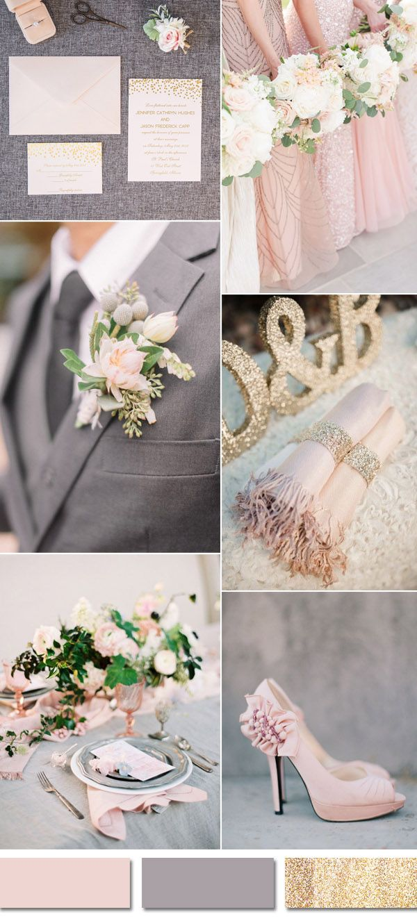 Grey And Blush Pink Weddimg Color Ideas With Invitations
