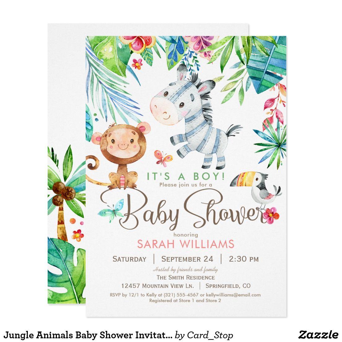 Jungle Animals Baby Shower Invitation, Boy or Girl Invitation | { Oh ...