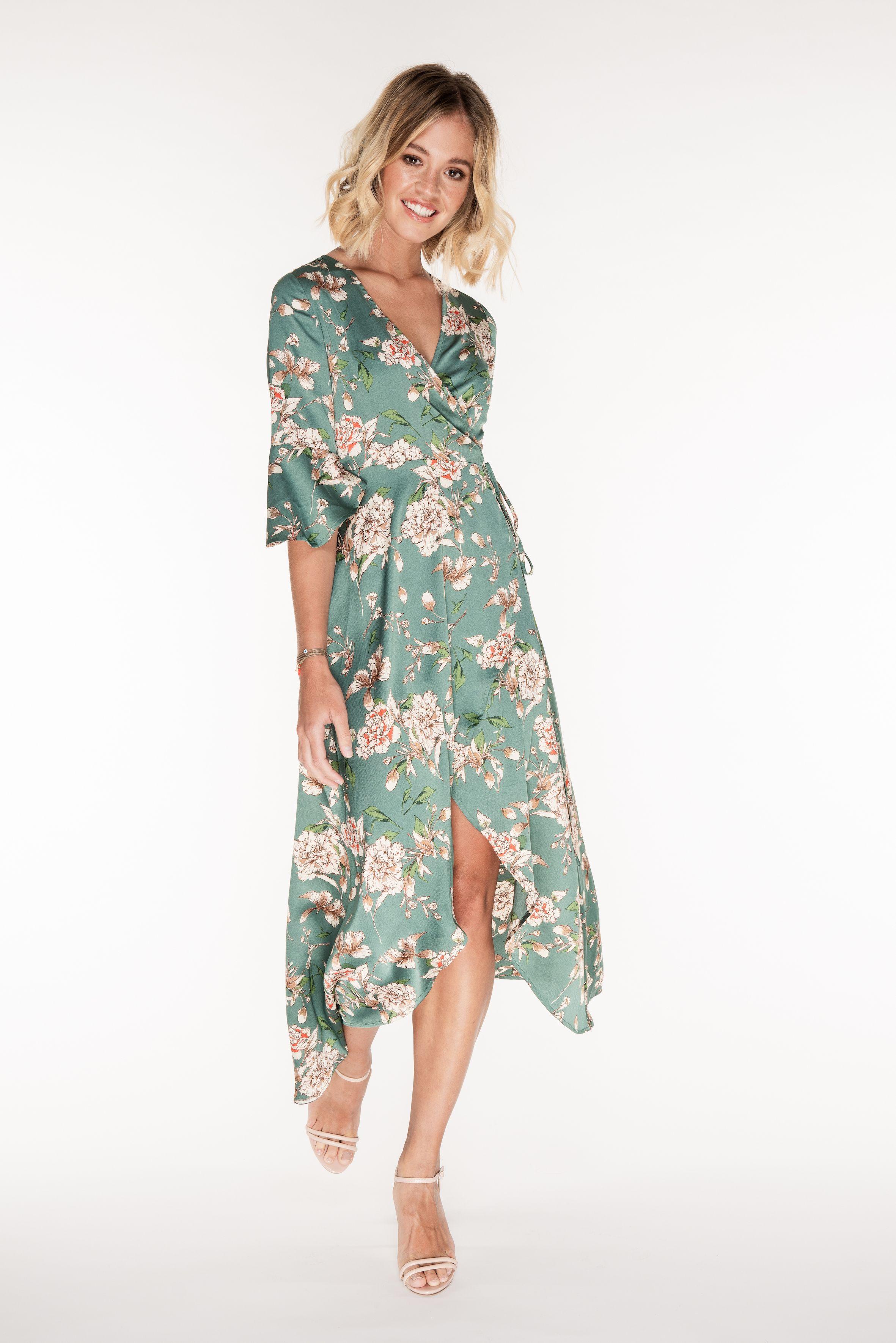 Pippa Green Floral Ruffle Wrap Dress Wrap Dress Maxi Dress Collection Dresses [ 3541 x 2362 Pixel ]