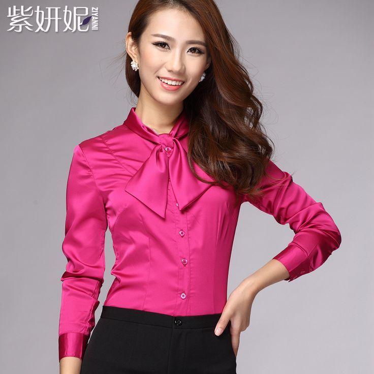 Satin bow blouse: