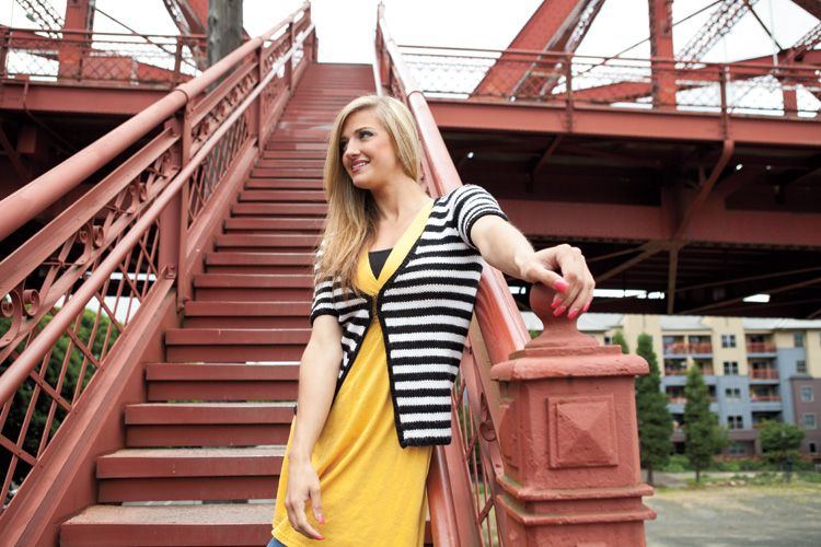 Hipster Stripe Cardigan by Triona Murphy