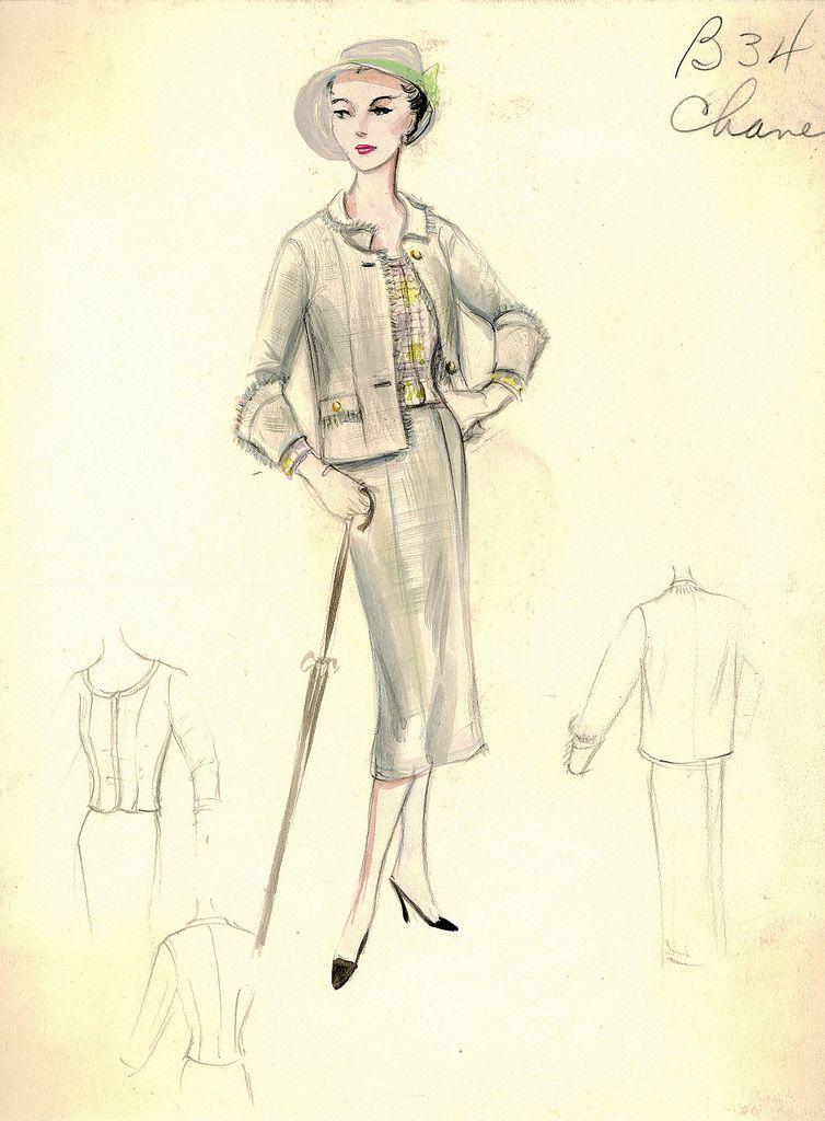 Boceto De Moda Chanel Vintage De Los Anos 1950 Y 1960 Chanel