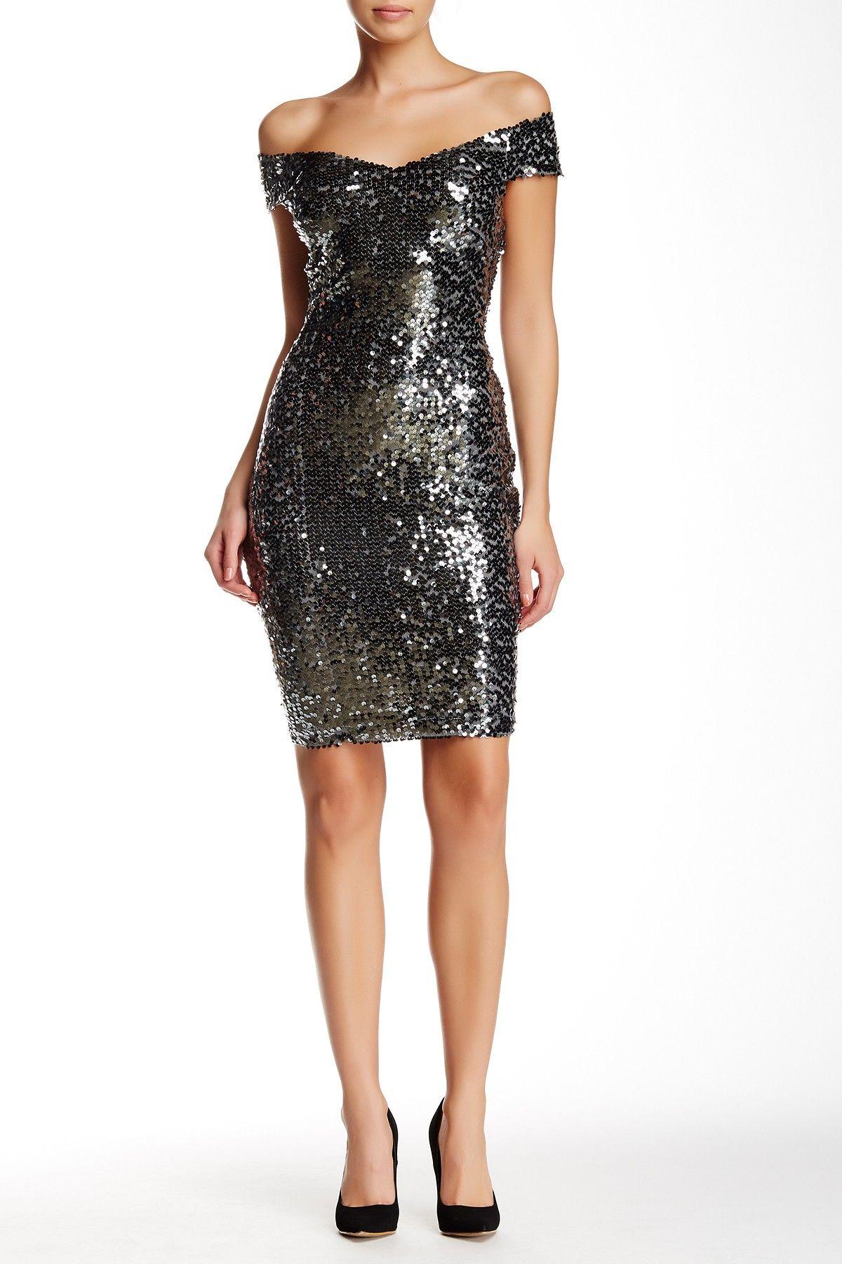 Marina | Off Shoulder V-Front Sequin Cocktail Dress | Sequins ...