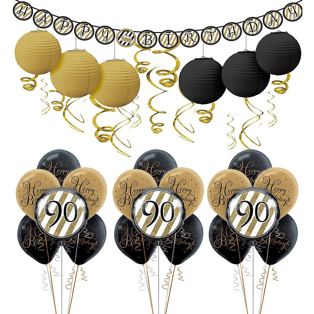 White Gold 90th Birthday Decorating Kit With Balloons Black And Gold Balloons Birthday Party Supplies 50th Birthday Party Supplies